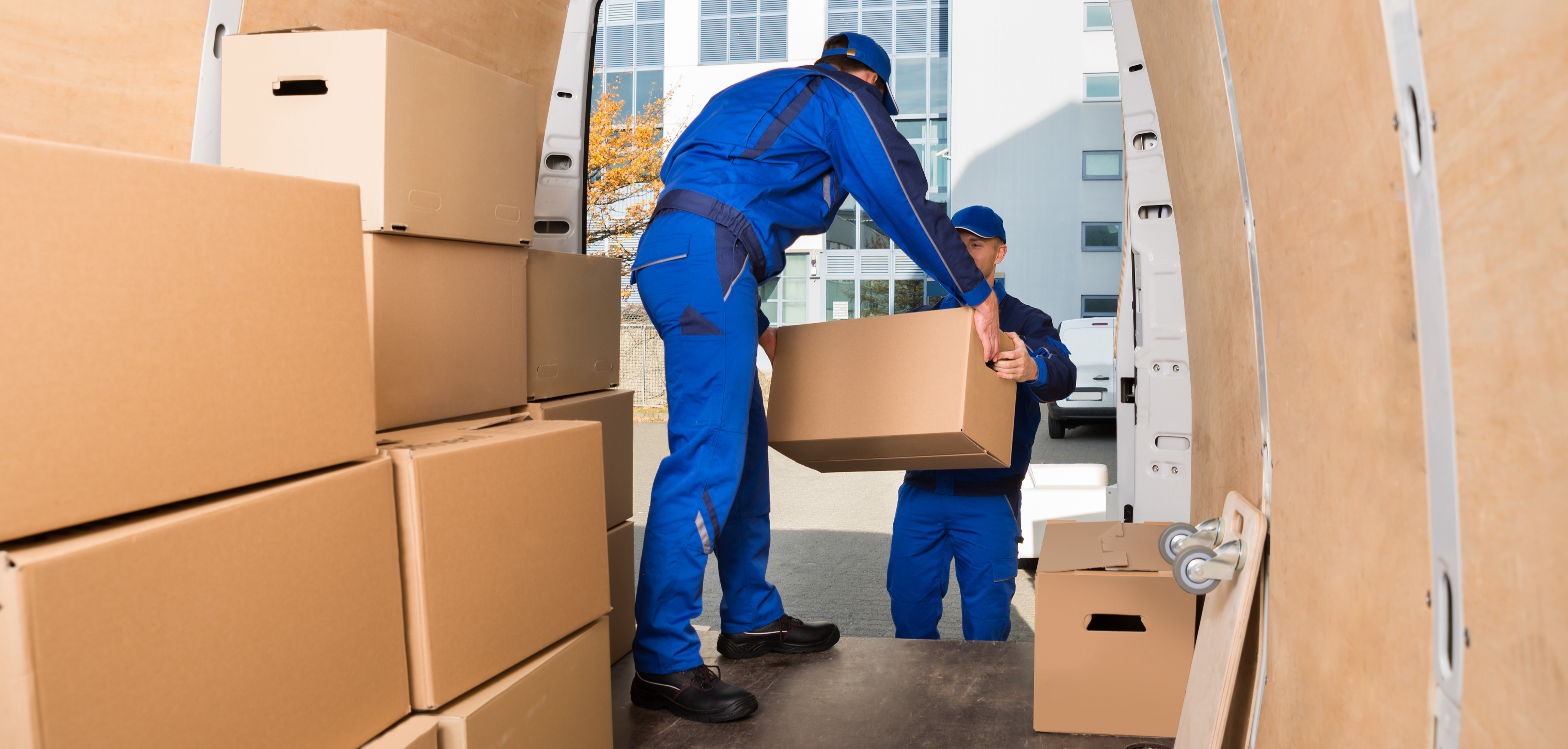 Young delivery men loading cardboard boxes in truck